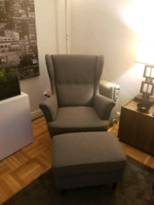 Ikea armchair and footstool LIKE NEW STRANDMON