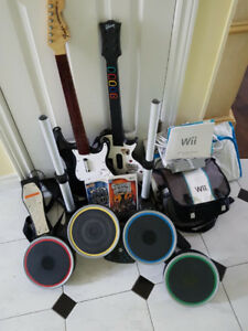 Wii and Guitar Hero System.