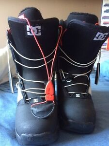 DC Shoes new snowboarding boots and snowboard with bindings.
