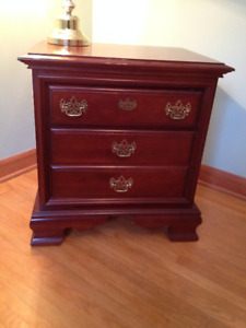Single 3 drawer bracket foot night stand. 70's