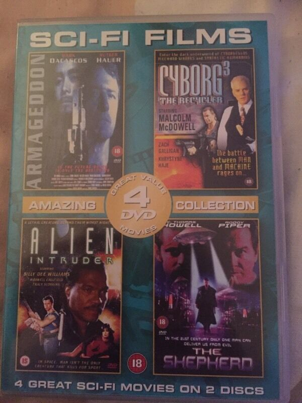 Sci fi filmsin Hemsby, NorfolkGumtree - Sci fi films 4 DVDs Armageddon, cyborg 3, alien intruder and the shepherd In good condition Collection from Ormesby st Margaret
