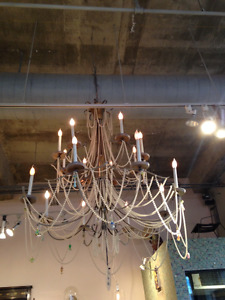 Large Chandelier Shabby Chic French Beaded