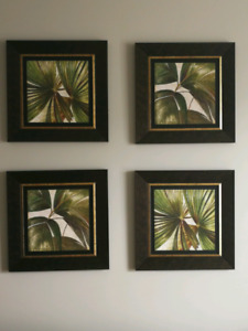 Framed botanical art work.