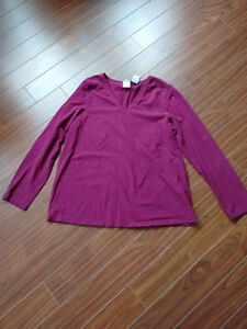 Wine colour long sleeve maternity top - size L