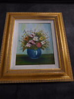 Floral Bouquet in Vase Still Life Painting Framed Ruth Kavanaugh