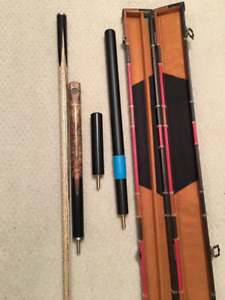 Snooker Cue - Custom 24 splice, ¾ ash with case/extensions
