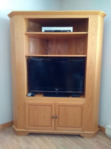 Solid Oak Corner TV Stand and Cabinet