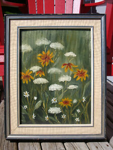Vintage Oil Painting Autumn Fall Flowers Wood Frame Signed