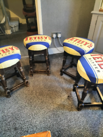 One off rare Tetley's pub stools £40 each Very cheap really hard to fi