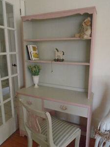 Pretty in Pink Desk/Vanity with Hutch and Matching Chair.