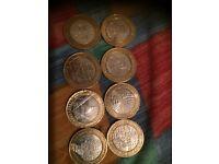 8 rare £2 coins