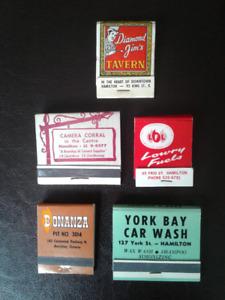 5 Hamilton Vintage Matchbook Covers,