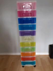 Rainbow coloured storage draws
