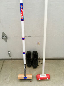 Curling brooms and shoes