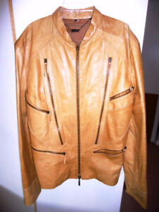 Roberto Cavalli Tanned Double Zip Biker Jacket, Size M-L New!