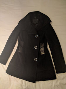 Mackage Women's Black Wool Coat with Leather Trim