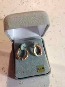 14 Karat Gold Tri Color Earrings $249