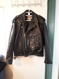 Classic thick leather motorcycle jacket