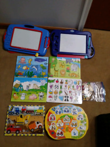 Toddler wooden puzzles + MagnaDoodlers $30 takes whole LOT