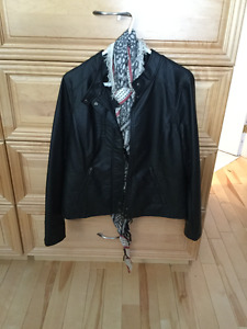 2 pleather jackets for sale a black one and a tan one