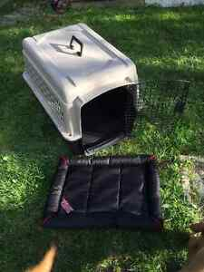 Medium size dog travel crate with crate cushion