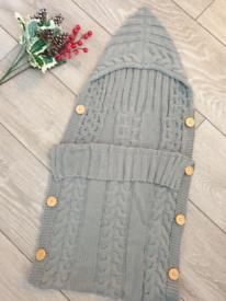 New grey baby knitted blanket/ pram sleeping bag