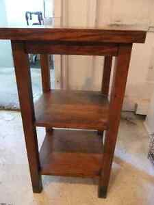 tall solid oak 3 tiered plant or telephone stand