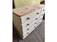 Lovely large up-cycled solid pine chest of drawers (dresser)