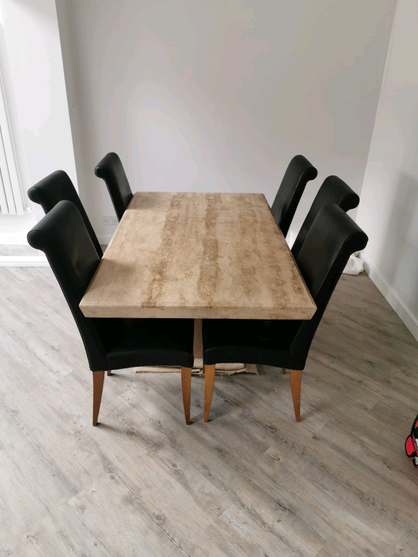 Solid stone dining table and chairs, Barker and Stonehouse ...