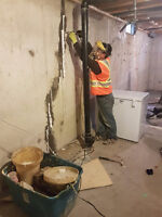 Concrete / Foundation crack repair, Basement & Garage leak.