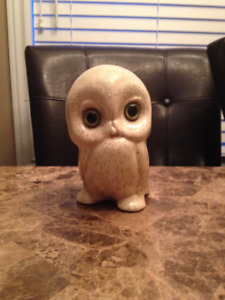 Collectable Vintage White Owl With Green Eyes