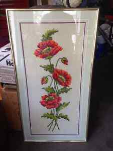 Price Dropped by Almost Half! Crewel Embroidery Poppies