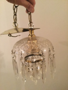 Vintage small  hanging light with glass crystal drops