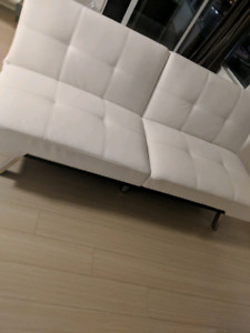 NEW Leather White Sofa Bed - $350