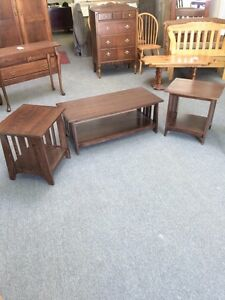 Hand crafted coffee table + 2 end tables