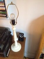 Rustic wood lamp, needs shade.