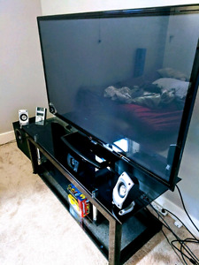 """60"""" Lg 1080p Smart Tv with glass stand and cables"""