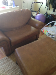 Leather Chair w/ Ottoman
