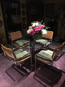 Glass and Wicker Dining Set