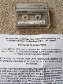 Dat Master Tape The Levellers Single This Garden.