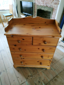 Pine Chest of Drawers with Removable Baby Change