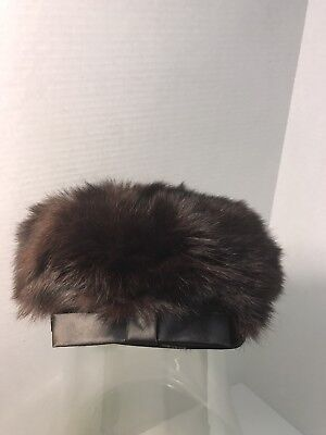 Union Made USA Fur Hat/Beret with Black Satin Trim, Vintage~NICE~