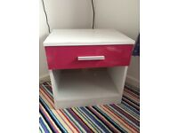 Girls pink and white bedside table