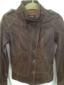 Ladies New Danier Brown Genuine Leather Moto Style Jacket XS