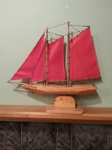 One of a kind hand crafted sailboat on a swivel base