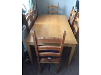 EXTENDABLE SOLID WOOD DINING TABLE & CHAIRS
