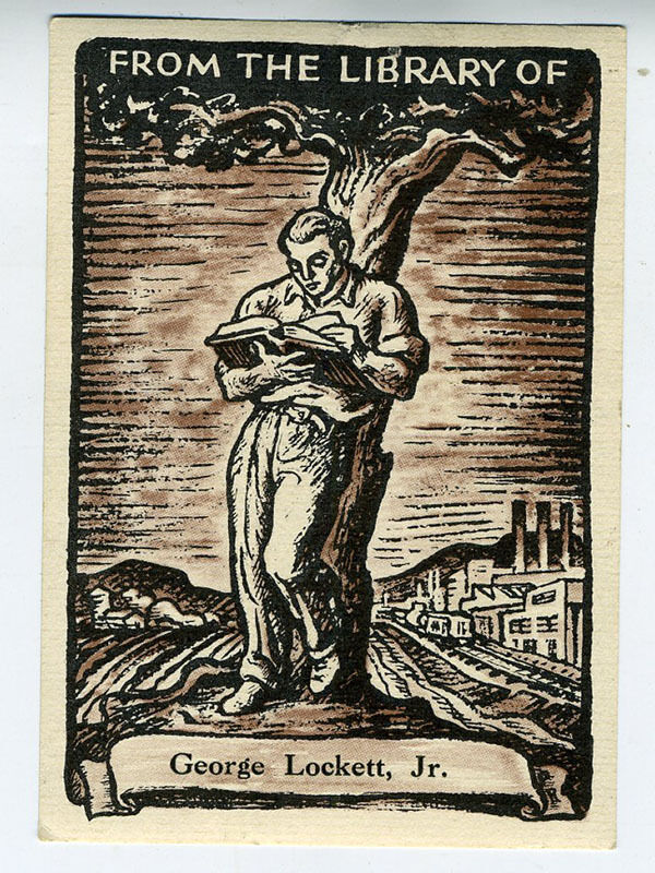 1930s WPA Bookplate of Man Reading under a Tree