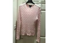 BROOKS BROTHERS ITALIAN MERCERIZED COTTON PINK CABLE KNIT SWEATE small