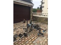 Weightlifting bench and weights
