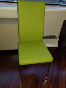 Two Nearly New Green Dining Chairs